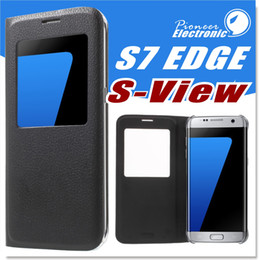 Wholesale Armband Retail - Filp Cover Open Window Smart View PU Leather Case Dormancy For Iphone 7 7 Plus Samsung Galaxy S8 S8 Plus S7 S7 Edge without retail package