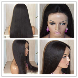 Wholesale New Yaki - 2016 new 100% Unprocessed hair Full Lace Wigs natural color Lace Front Wigs With Baby Hair yaki Human Wig For Black Women