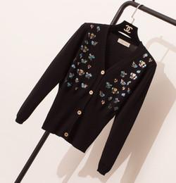 Вышивка рукав вязать свитер онлайн-Новый дизайн женщин осень v-образным вырезом с длинным рукавом вышивка блестка блестками сексуальная bodycon вязаный свитер кардиган пальто casacos