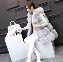Wholesale Thin Fur Vest - Natural Real Fox Fur Vest New 2017 Winter Long Thick Women Genuine Fur Vest Jacket Pockets Real Fur Vest Coats for Women