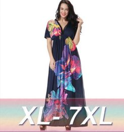 Wholesale Maxi Dresses Silk Chiffon - Europe Hot sexy V-neck beach resort beach dress big yards plus fertilizer ice silk dress summer hot