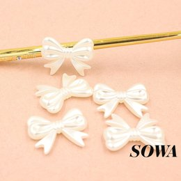 Wholesale Beads 23mm - 40Pcs Big 30*23mm Ivory Color Imitation Pearls Bow Craft ABS Resin Effect 3D Maple Designed Beads For Making Jewelry DIY