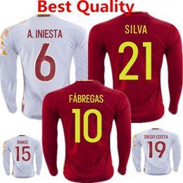 Wholesale Spain Long Sleeve - Espana Larga Jersey de Futbol 2016 Euro Cup Spain Long Sleeve Soccer Jersey Fabregas Iniesta Silva Romas Full Sleeve camisas kid Top Quality