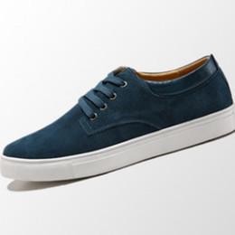 Wholesale Cheap Men Platform Shoes - Male's Cheap Lace-UP Designer Genuine real leather Board shoes Plus size 38-48 Breathable Platform Single Casual Loafers Camel Blue Black