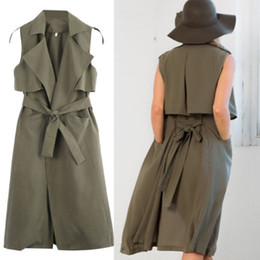 Wholesale Ladies Blazers Free Shipping - Ladies Double Layerd Long Duster Jacket Womens Sleeveless Waistcoat Belt Blazer Dress Free Shipping