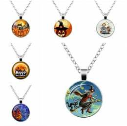Wholesale Green Wizard - JLN Halloween Pumpkin wizard Gift For Hallowmas Gems Cabochon Glass Dome Alloy Pendant Necklace Gift For Man Woman