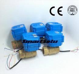 """Válvula de bola de latón online-3/4 """"DN20 DC12V válvula de bola motorizada bidireccional de latón, válvula de bola eléctrica de 3 cables CR-02"""