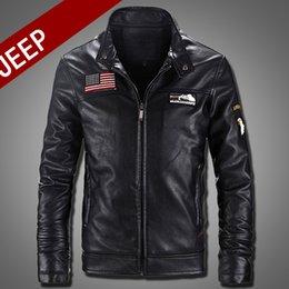 Wholesale Korean Leather Jacket Style - Wholesale- 2017 New Fashion Motorcycle PU Leather Jacket Men Slim Fit Short Style Jackets Khaki Black Mandarin Collar Korean Stly Coat