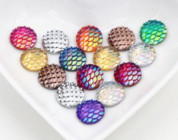 Wholesale Christmas Flat Back Resins - Fashion 100pcs 12mm Mix Colors Fish Scale Style Flat back Resin Cabochons For Bracelet Earrings accessories