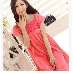 Wholesale Plus Size Pink Nightgown - Wholesale-Summer short-sleeve plus size plus size women's sleepwear viscose lace plus size mm nightgown lounge