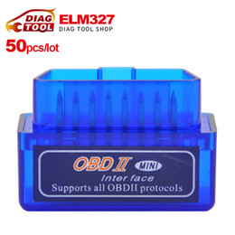 Wholesale obd2 adapter bluetooth - Wholesale-[50pcs lot]DHL Free Mini V2.1 ELM327 OBD2 Bluetooth Auto Scanner obd2 bluetooth adapter diagnostic-tool ELM 327 Diagnostic Tool