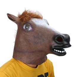 Wholesale horse head mask latex free - Full Head Mask Horse Head Mask Creepy Fur Mane Latex Realistic Crazy Rubber Super Creepy Party Halloween Costume Animal Mask