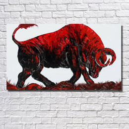 Wholesale Bull Canvas Painting - Wholesale Price Modern Red Bull Oil Painting Wall Art Decorative Living Room Wall Pictures Animal Oil Painting
