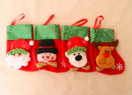 Wholesale Christmas Stocking Holders Wholesale - 2016 New Arrival Santa Claus Christmas Stockings Gifts Candle Holders Christmas Tree Decorations Navidad Free Shipping