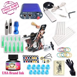Wholesale Usa Tattoo Ink - Free ship cheap beginner tattoo kit with hot sales USA brand ink with 1 tattoo machine complete tattoo power supply