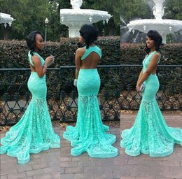 Wholesale mint mermaid dress prom - Mint Green Full Lace Mermaid Prom Dresses Deep V Neck Backless Floor Length Formal Evening Dresses Red Carpet Celebrity Runaway Dresses