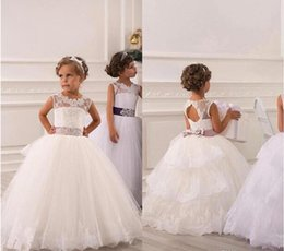 Wholesale Lacing Ribbon For Wedding Dress - 2017 Cheap Flower Girl Dresses For Weddings Vintage Jewel Sash Lace Net Baby Girl Birthday Party Communion Dresses Kids Formal Wear