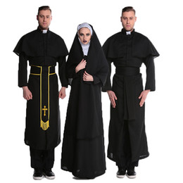Wholesale Black Priest - parsonage of a male priest in a costume dress Cosplay striped suit Fancy Dress Outfit Adult s-xxl