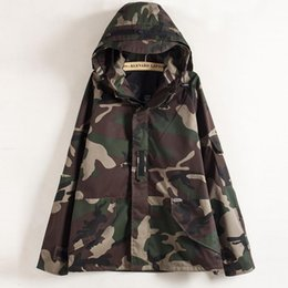 Wholesale Camo Parka Jacket - Tactical Camouflage Jacket Men Women Plus Size Camo Hooded Windbreaker Jackets Military Canvas Jacket Parka Fashion Streetwear