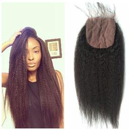 Wholesale Coarse Yaki - Hot Sale Peruvian Kinky Straight Silk Base Closure With Baby Hair Virgin Coarse Yaki Human Hair Closure G-EASY
