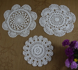 Wholesale free doily patterns - 24pcs LOT Free Shipping Wholesale Round Crochet pattern Doily handmade Crochet cup mat White, Pink,Ecru 20CM ab3h77