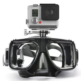 Wholesale Gopro Silicon - 1 piece gopro diving mask soft liquid silicon scuba diving mask with clear tempered glass top snorkel mask for adult diving