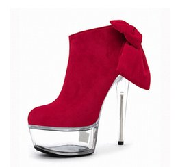 Wholesale Boots Bow Suede - 6 inch Platform side zipper fashion boot women top bows suede sexy 15cm ultra high heels short boots martin Crystal shoes