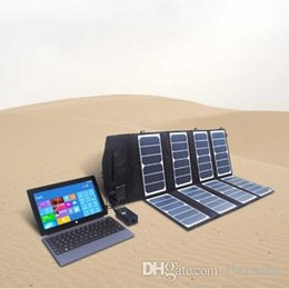 Wholesale Solar Battery Charger Dc - 52W dual output (12V DC & 5V USB) Portable Solar Battery Charger pack for laptop use