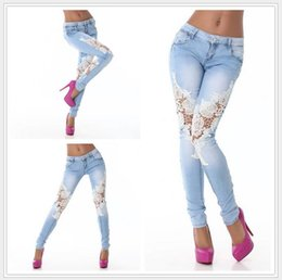 Wholesale Patchwork Womens Denim Jeans - New Arrivel 2016 European and American Women skinny jeans Lace Hollow Out Womens Denim Pants Sale Fashion Skinny Jeans for Women