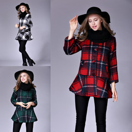 Wholesale Warm Elegant Wool Coats - 2018 New Autumn Winter Plaid Wool Coat for Women Elegant Red Green Black and White Warm Nipped Waist Outwear Female Blend Jacket FS3140