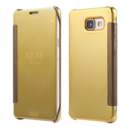 Wholesale Electroplated Chrome Iphone Case - For Samsung S8 Plating Mirror Leather Case Clear Window View Chrome Flip Electroplate Phone Case Cover for Galaxy S7 S6 edge