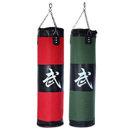 Wholesale Martial Arts Training - Wholesale-High Quality 100cm Boxing Sandbags Striking Drop Hollow Sand Bag with Chain Martial Art Training Punch Target