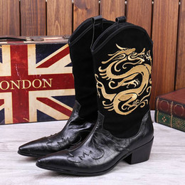 Wholesale Slip Shoes Men Cowboy - New Arrival Men High Top Leather Shoes Fashion Designer Embroidered Dargon Mid Calf Martion Boot Pointed Toe Black And Red