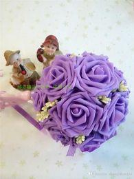 Wholesale High Quality Wedding Bouquet - 2016 Purple Wedding Bouquets for Brides Bridesmaids Junior Flower Girl Bouquets Lovely Purple Hand Bouquets Cheap Price High Quality