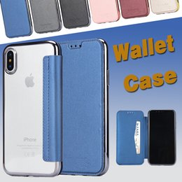 Wholesale Full Body Leather - Hybrid Slim Flip TPU Leather Cover Wallet Case With Card Slots Plating Full Body For iPhone X 8 7 Plus 6S Samsung Note 8 S8 S7 Edge