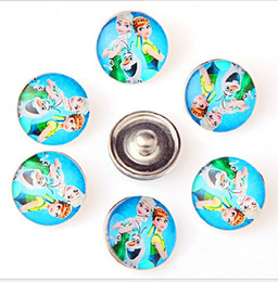 Wholesale Diy Acrylic Sets - Fashion 18MM Snap Buttons Metal Glass Noosa Chunks 10 Mix Cartoon Anna Elsa Minions Style Fit Women Kids Diy Jewelry Charm Button Bracelet