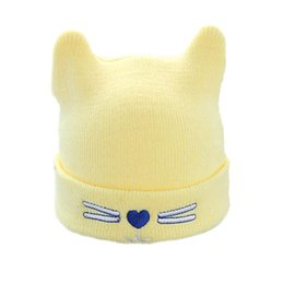 Wholesale Earflap Beanies For Kids - Toddler Warm Knitted Earflap Hats Caps Girls Boys Embroidery Cute Kitty Cat Beanie Soft Cotton Hats Christmas Gift for Kids
