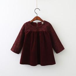 Wholesale Corduroy Dress Girls - Autumn Baby Girls Lace Dresses Kids Girls Princess Long sleeve Dress Girls Ruffles Dress 2017 Baby Clothes