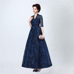 Wholesale Navy Ship Models - Free Shipping Evening Dresses Long 2017 Vestidos De Festa Longo Blue Lace Prom Dress Elegant Floor Length Evening Gowns