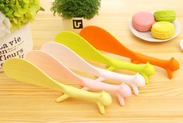 Wholesale Spoons Plastic Handles - DHL Shipping 50pcs Cute Plastic Handle Squirrel Spoon Vertical Non-stick Rice Spoon Creative Rice Shovel