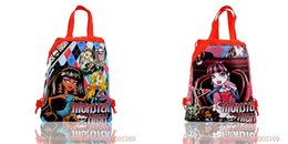 Wholesale Drawstring Shoulder Handbag - New,12Pcs Monster High Kids Cartoon Drawstring Backpack School Bags  Kids Handbags,34*27CM,Mixed 4 Models,Non-Woven Fabrics,Kids Party Gift