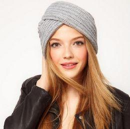 Wholesale Red Knit Beret - Hot Cuffed Knitted Women Hat Winter Beanie Boho Beret Knit Ear Protect Headband Girl Cap Warm Handmade High Quality Bonnet