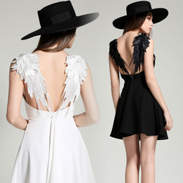 Wholesale sexy mini dress cutouts - New fashion women's personality sexy v-neck solid color spaghetti strap backless lace wing hollow out cutout dress club party dress