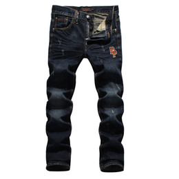 Wholesale Men S Skull Heads - 2016 Original Thick Straight Loose Jeans Dark Blue Black Cotton Denim Jeans Male Skull Head Embroidery Tide Male Jeans Printed tide men Jean