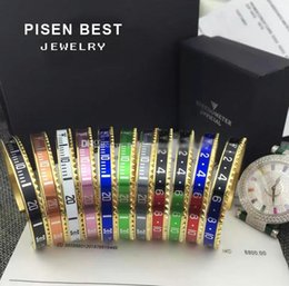 Wholesale Titanium Cuff Bracelets For Men - (come with package)2018 Top Quality 316L Titanium steel Pulseras Gold Plated Bangle for Men And Women Cuff Speedometer Bracelet Unisex