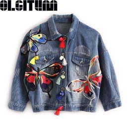 Wholesale Embroidery Butterfly Patch - Wholesale- 2017 OLGITUM Colorful Butterfly Embroidery Ladies Jean Jackets Patch Designs Womens Denim Coats with Tassel frayed Slim Jacket