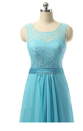 Wholesale Party Host - The New Blue Shoulders Lace Host Costumes Bridesmaid Dresses Long Chiffon Formal Evening Cocktail Party Prom Dress Wedding Dress Gown Ball