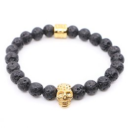 Wholesale Silver Skull Charms Beads - Nature Lava Stone Beads with Stainless steel Skull Charms Bracelets Man Women Best Friends Gift pulseira Yoga Jewelry