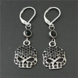 Wholesale Crystal Skull Earrings - 3pairs lot Personal design black crystal biker earrings 316l stainless steel fashion jewelry hot selling motorbiker skull earrings