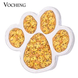 Wholesale Paw Blue - VOCHENG NOOSA 18mm Paw Print Snap 3 Colors Crystal Button Jewelry Vn-1050